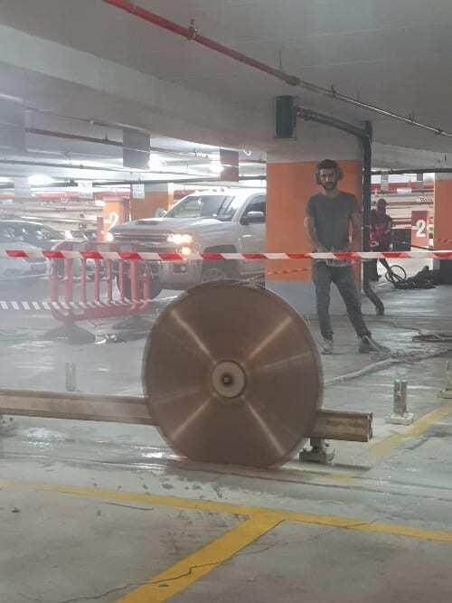 ניסור בטון ביהלום בחניון